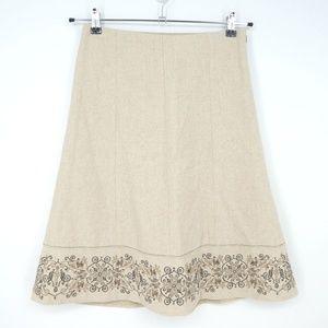 Ann Taylor Wool A-Line Embroidered Skirt (U2)